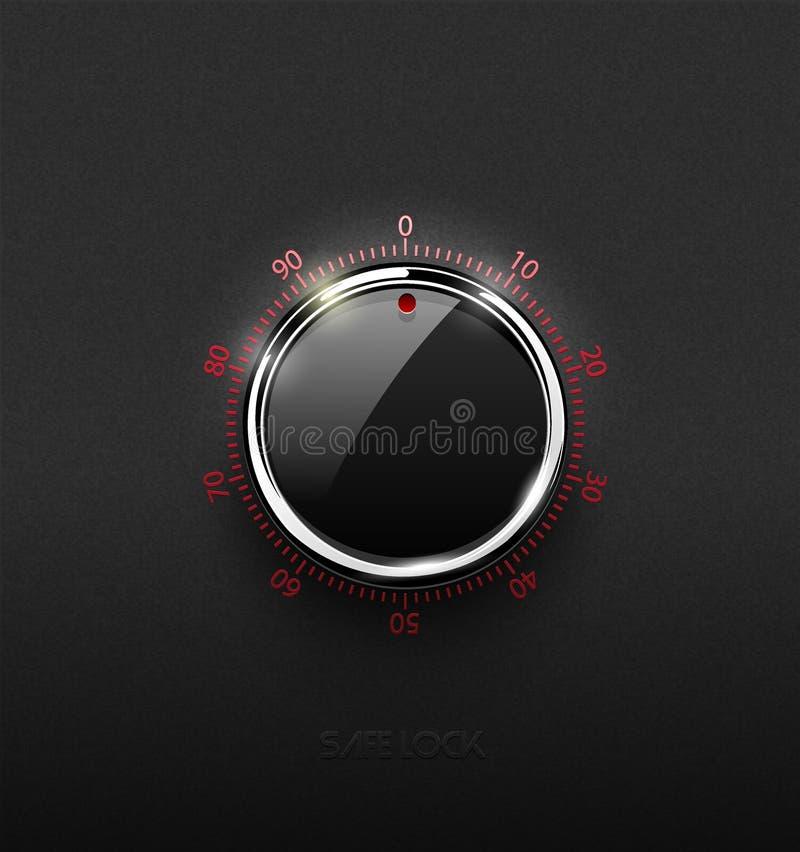 Элемент тома замка реалистической стеклянной черной комбинации безопасный с кольцом металла хрома на текстурированной пластичной  иллюстрация штока