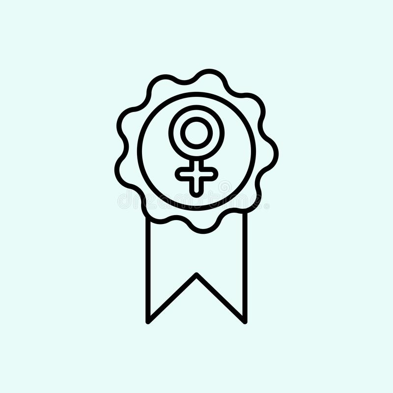 благодарность, феминизм, значок награды Элемент феминизма для мобильных концепции и значка приложений сети План, тонкая линия зна бесплатная иллюстрация