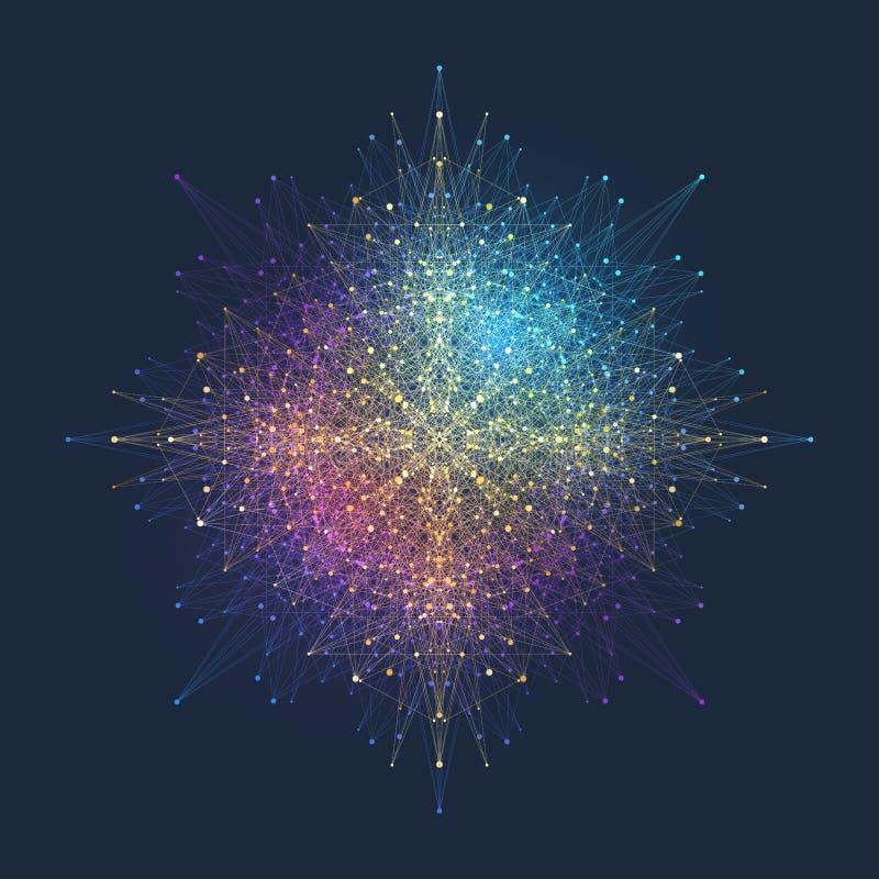 Элемент фрактали с соединенными линиями и точками Большой комплекс данных Виртуальные смеси связи или частицы предпосылки иллюстрация вектора