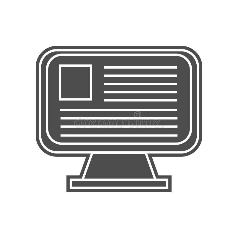 значок уравнения монитора Элемент minimalistic для мобильных концепции и значка приложений сети Глиф, плоский значок для дизайна  иллюстрация штока