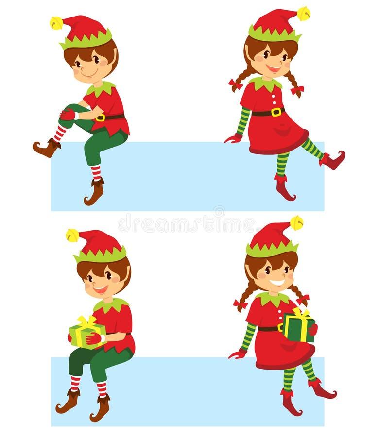Эльфы рождества на знаменах иллюстрация вектора