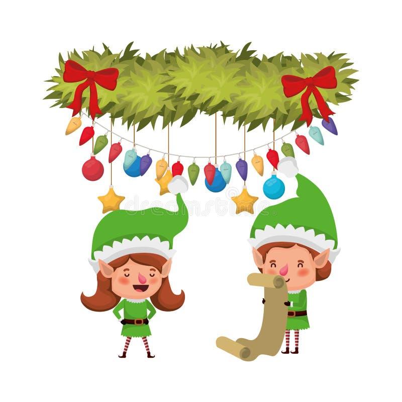 Эльфы соединяют с подарками списка и и гирляндой с шариками рождества бесплатная иллюстрация