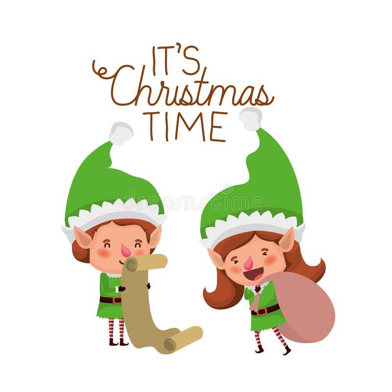 Эльфы соединяют с подарками списка и характером воплощения времени веселого рождества иллюстрация вектора