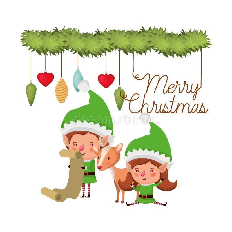 Эльфы соединяют с подарками списка и характером воплощения времени веселого рождества бесплатная иллюстрация