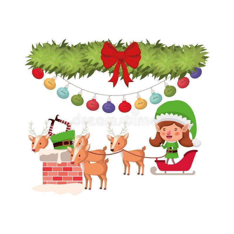 Эльфы соединяют с санями и гирляндой с шариками рождества иллюстрация вектора