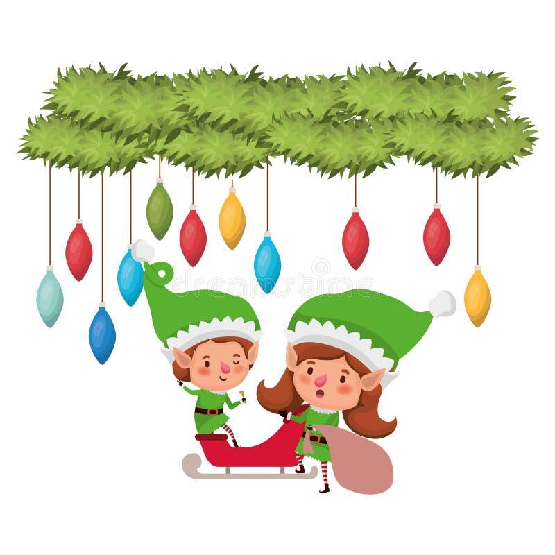 Эльфы соединяют с санями и гирляндой с шариками рождества бесплатная иллюстрация