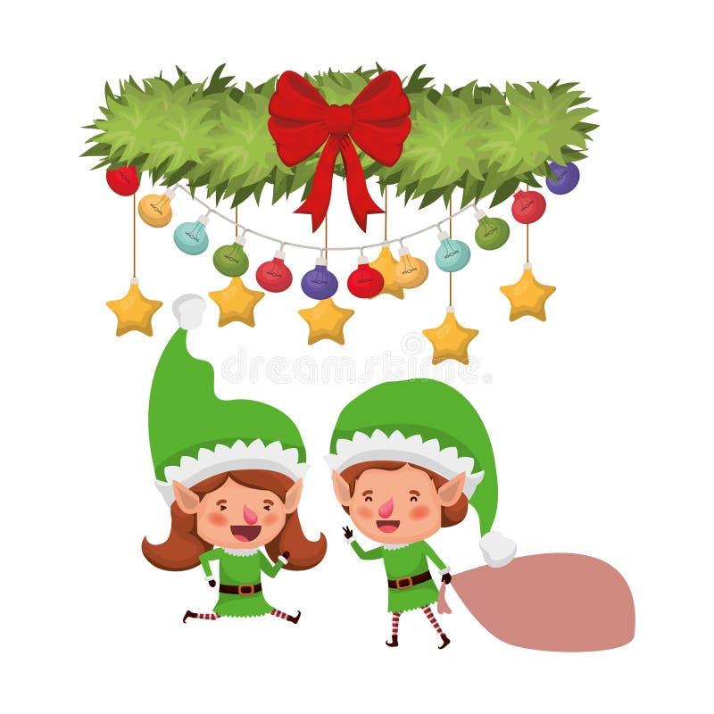 Эльфы соединяют с сумкой и гирляндой подарка с шариками рождества бесплатная иллюстрация
