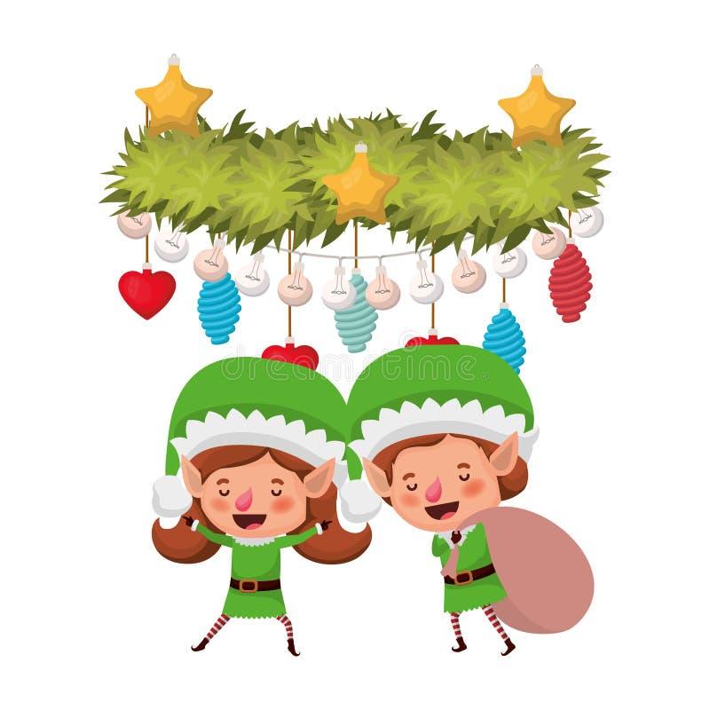 Эльфы соединяют с сумкой и гирляндой подарка с шариками рождества иллюстрация штока