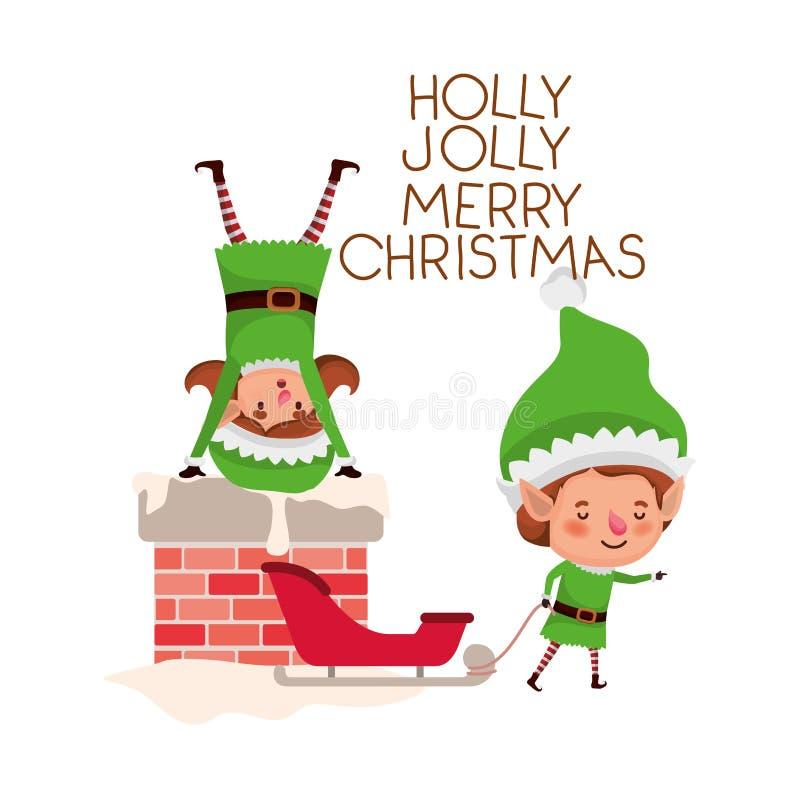 Эльфы соединяют с характером воплощения камина и веселого рождества иллюстрация штока