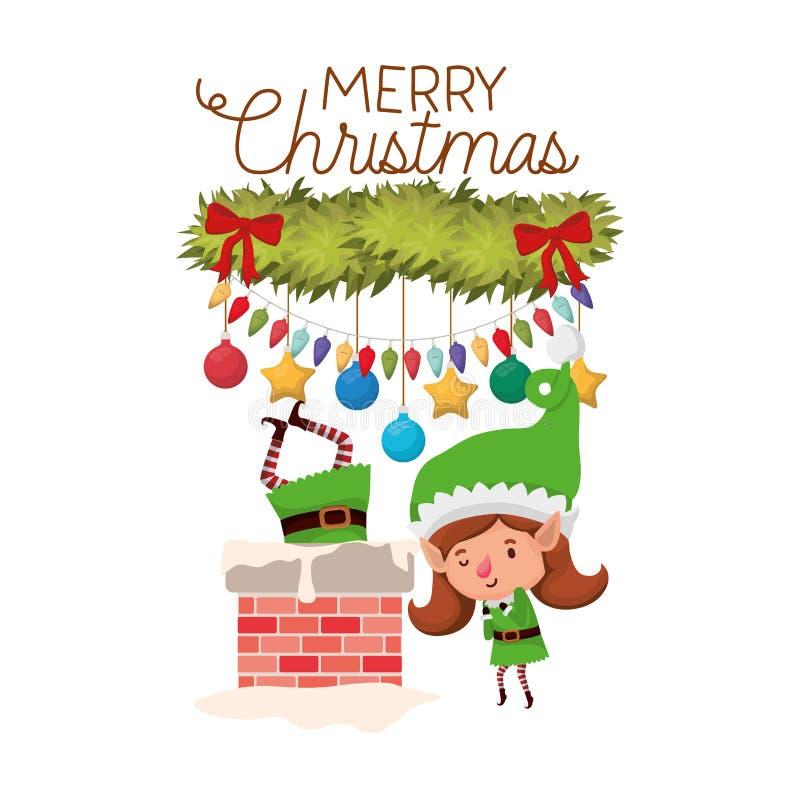 Эльфы соединяют с характером воплощения камина и веселого рождества бесплатная иллюстрация
