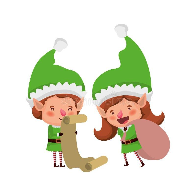 Эльфы соединяют с характером воплощения подарков списка иллюстрация вектора