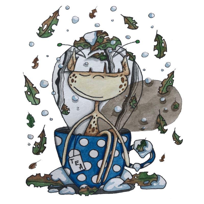 Эльф в чашке стоковые фото