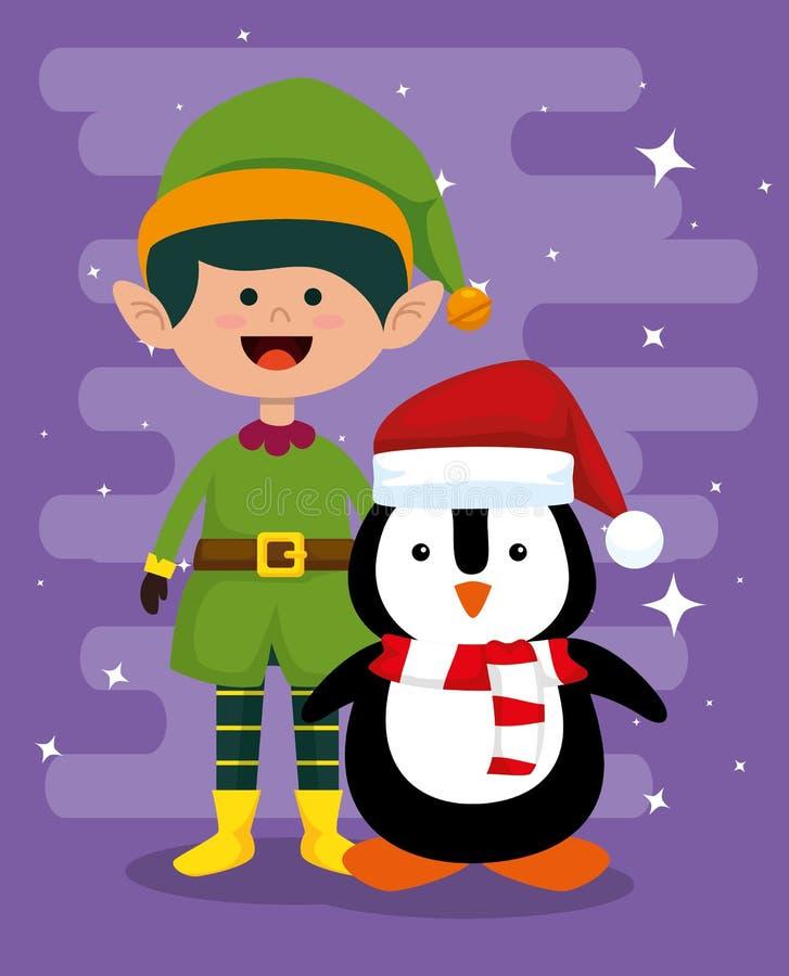 Эльф и пингвин для того чтобы отпраздновать веселое рождество иллюстрация вектора