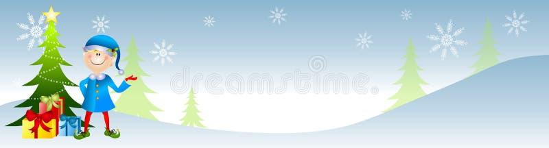 эльф рождества знамени иллюстрация вектора