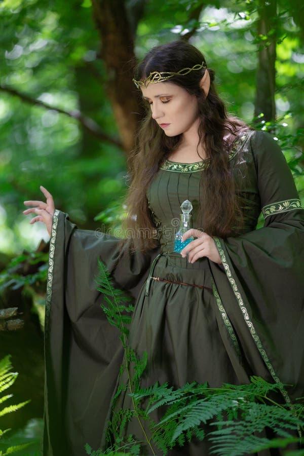 Эльф с бутылкой волшебного зелья стоковые изображения rf