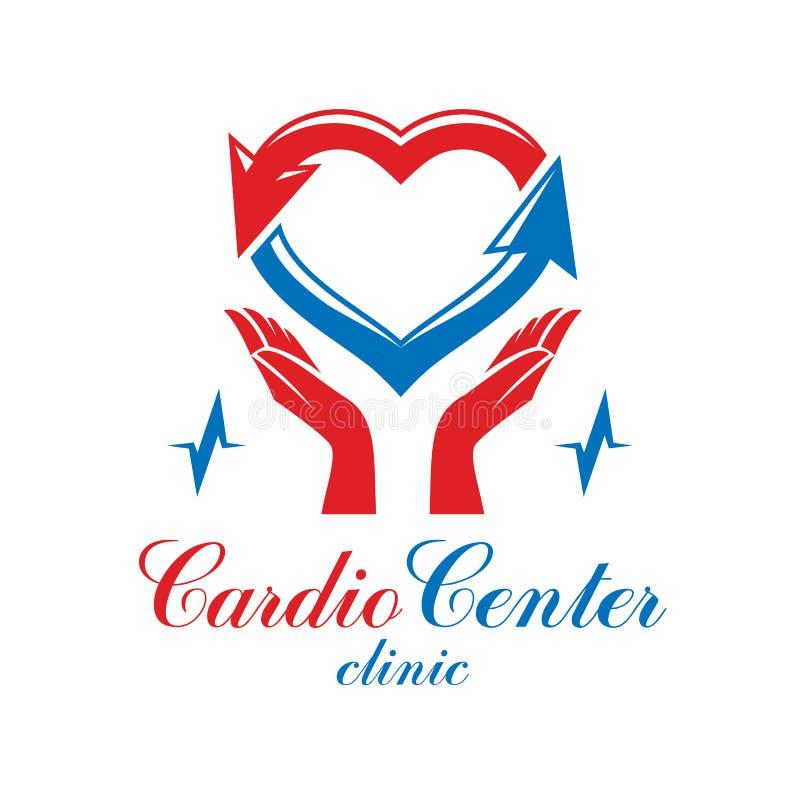 Эмблема вектора кардиологии схематическая сделанная при сердце пульсируя иллюстрация вектора