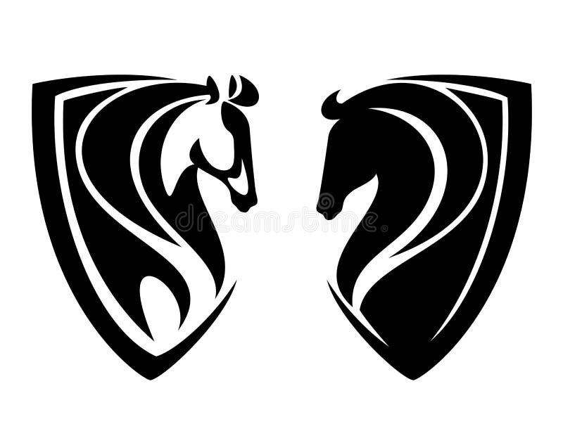 Эмблема вектора черноты головы лошади heraldic бесплатная иллюстрация