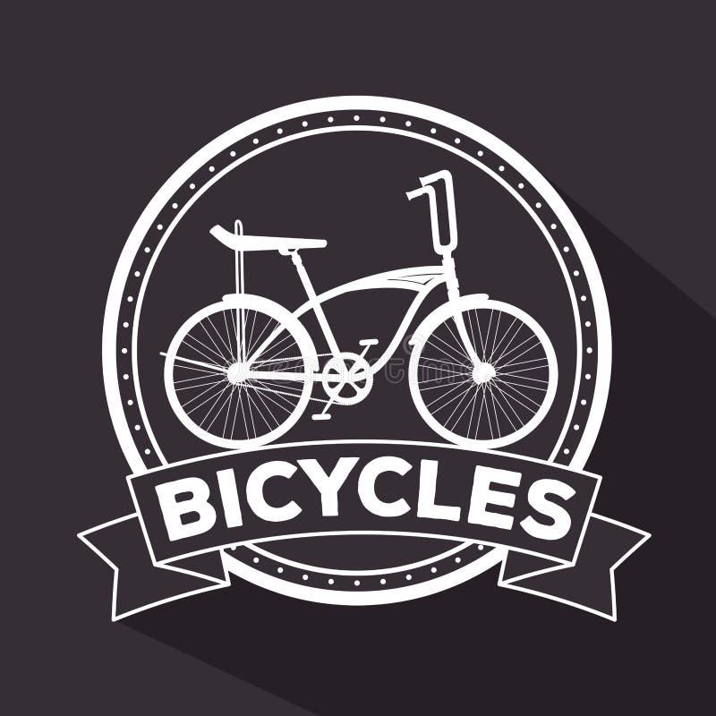 Эмблема весьма транспортного средства велосипеда, который нужно работать иллюстрация вектора