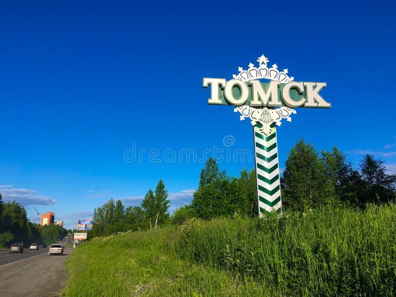 Эмблема дороги города Томска стоковые фотографии rf