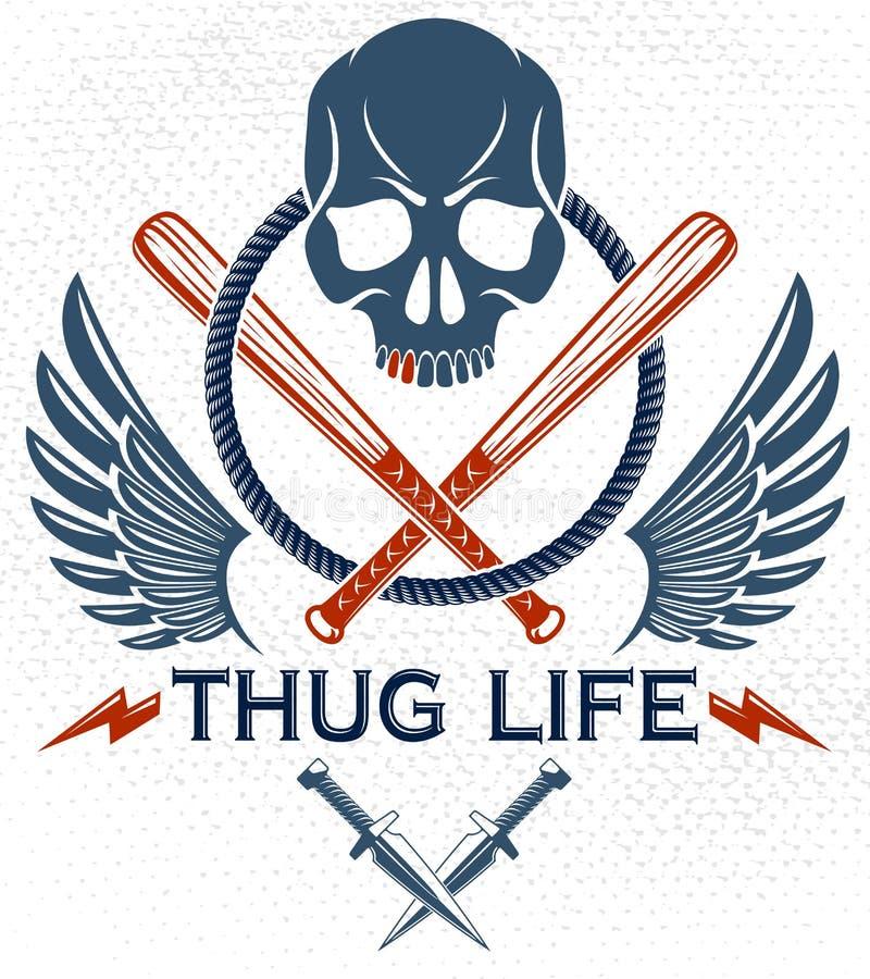 Эмблема или логотип шатии зверские уголовные с агрессивными бейсбольными битами черепа и другими оружиями и элементами дизайна, а иллюстрация штока