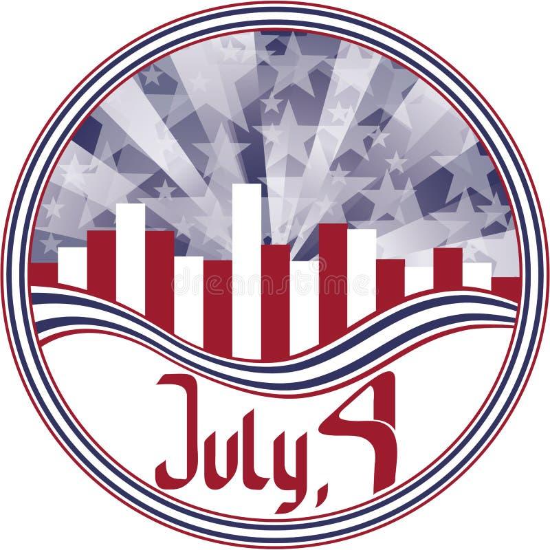 эмблема каллиграфии четвертое -го июль круглый иллюстрация штока