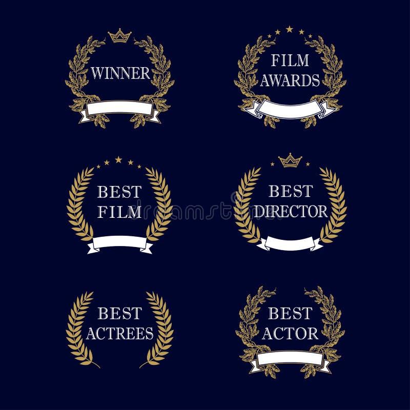 Эмблема лавра самой лучшей награды фильма золотая иллюстрация вектора