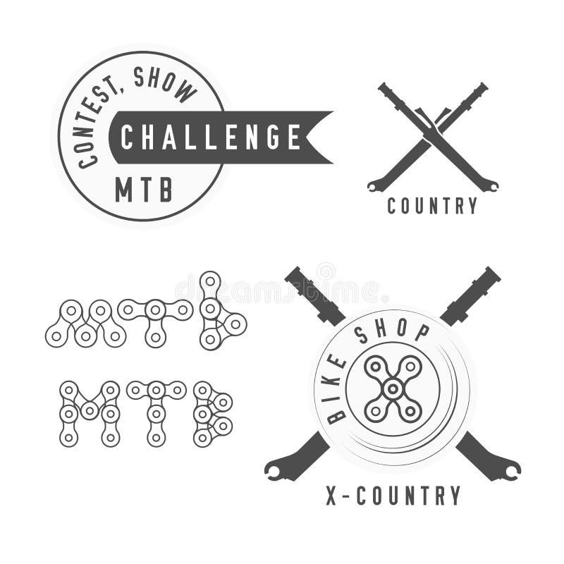 Эмблема магазина велосипеда или велосипеда Состязание, эмблема выставки MTB Оформление MTB сделанное цепи велосипеда Пересеченные иллюстрация штока