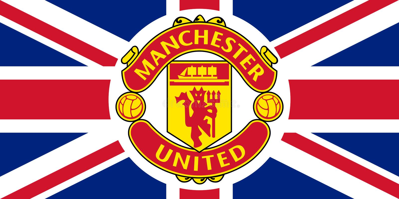 Эмблема Манчестера Юнайтед на Юнионе Джек иллюстрация вектора