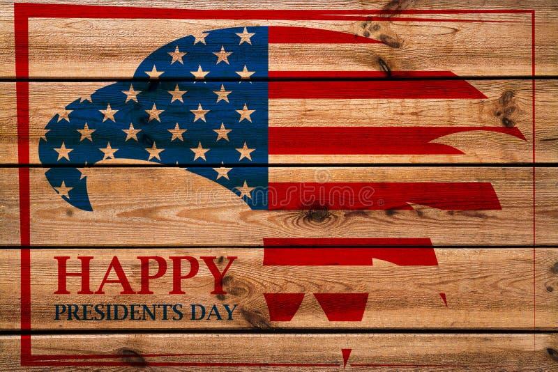 Эмблема президентов Дня с американским орлом в красной рамке Деревянная предпосылка стоковое фото