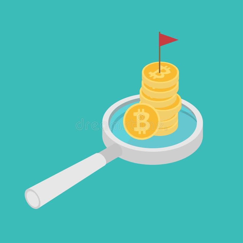 Эмблема революции на значке bitcoin на лупе r иллюстрация вектора