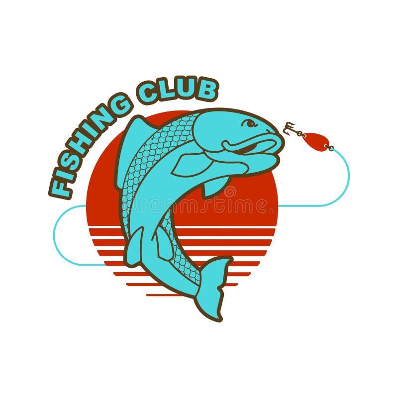 Эмблема рыб и рыболовной удочки Знак рыболовов клуба рыбной ловли вектор иллюстрация штока