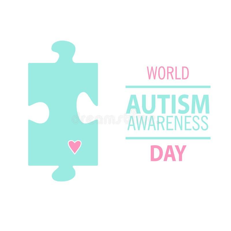Эмблема сделанная от частей головоломки и цветов аутизма иллюстрация вектора