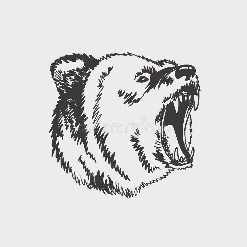 Эмблема с реветь сердитая сторона медведя головы Силуэт изолированной черной головы животного контура иллюстрация штока