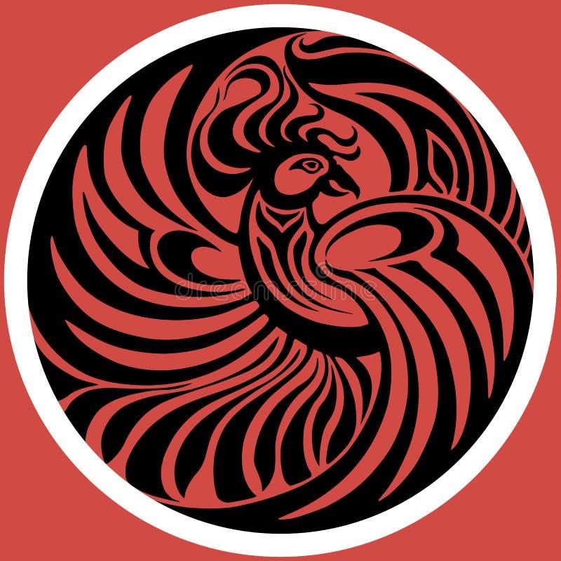 Эмблема Феникса на красной предпосылке также вектор иллюстрации притяжки corel стоковые фотографии rf