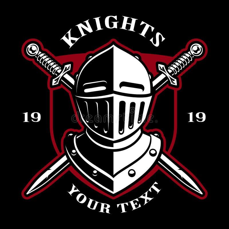 Эмблема шлема рыцаря с шпагами иллюстрация штока