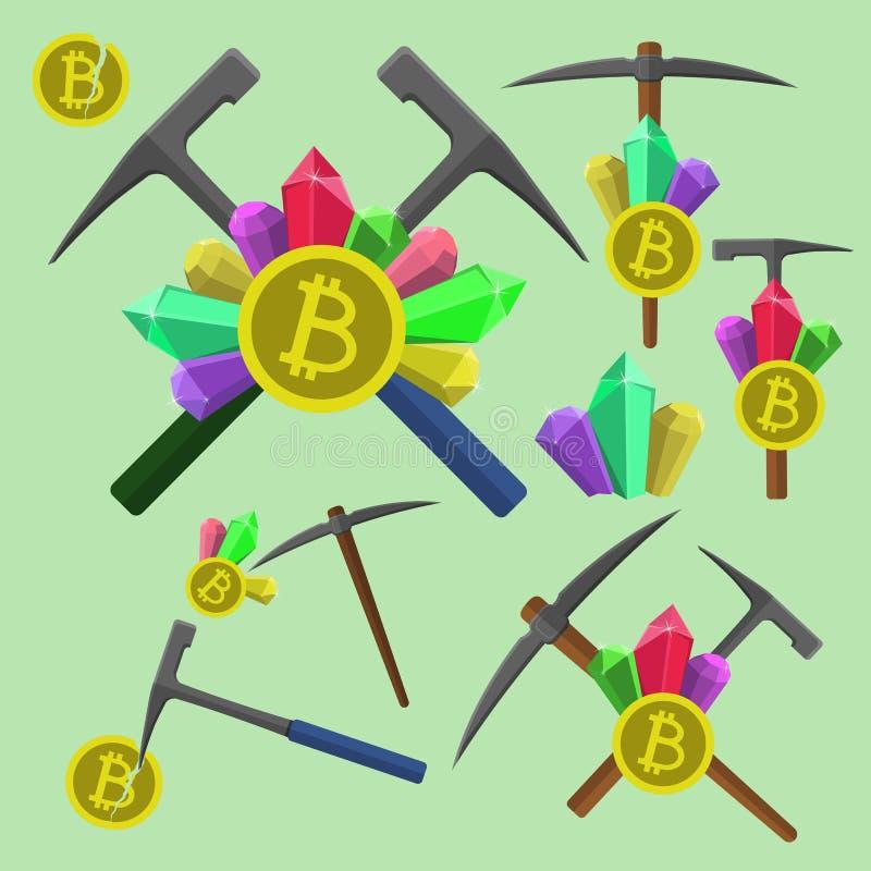Эмблема bitcoin извлечения, значок с геологохимическое пестротканым вектора молотка, выбора и кристаллов установленное иллюстрация вектора