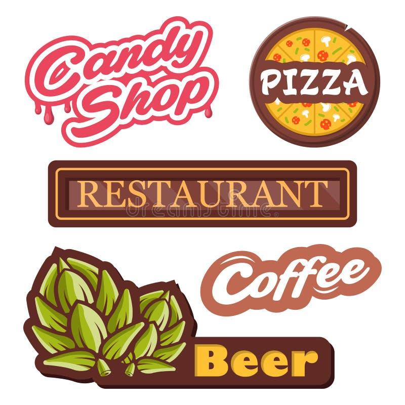 Эмблемы вектора собрания - изолированная иллюстрация вектора ярлыков Логотип для пиццы, магазина конфеты, пива, кофе, restourant стоковое фото