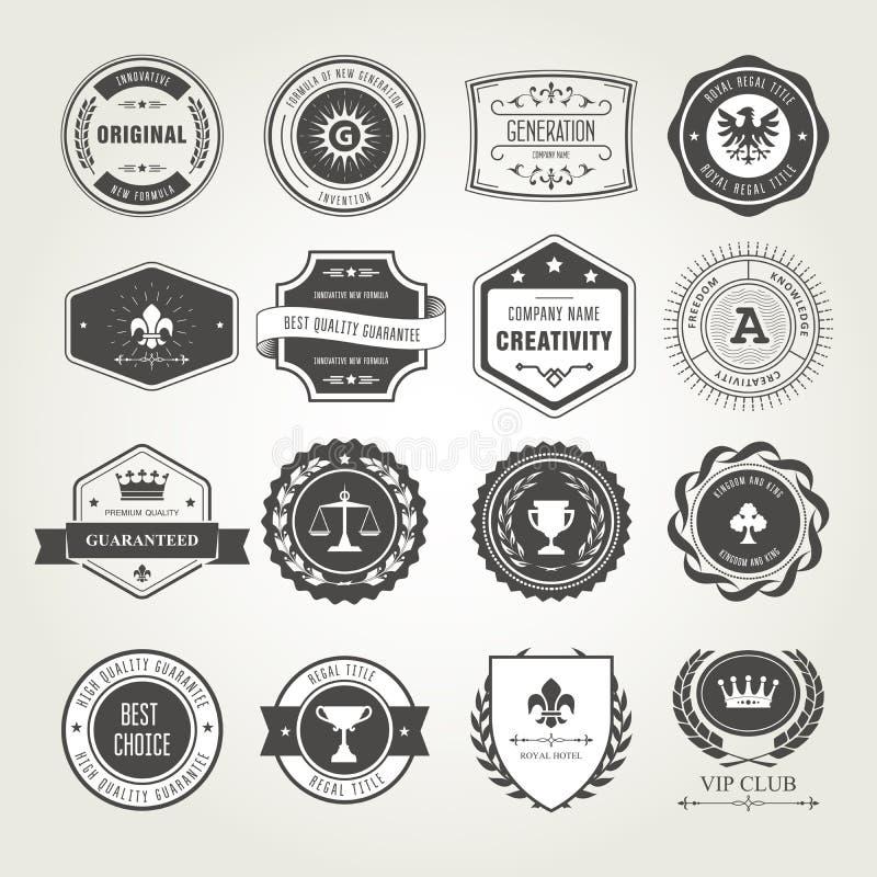 Эмблемы, значки и штемпеля установили - награды и дизайны уплотнений иллюстрация вектора
