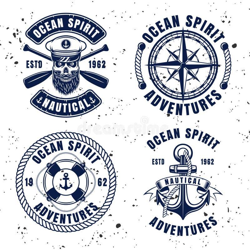 Эмблемы или значки морского установленного вектора винтажные иллюстрация штока