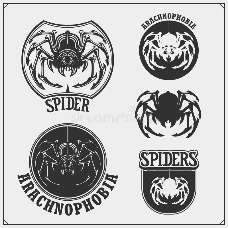 Эмблемы клуба Arachnophobia Танцевальный клуб ночи, дизайн команды спорта Страшный пугающий паук r иллюстрация вектора