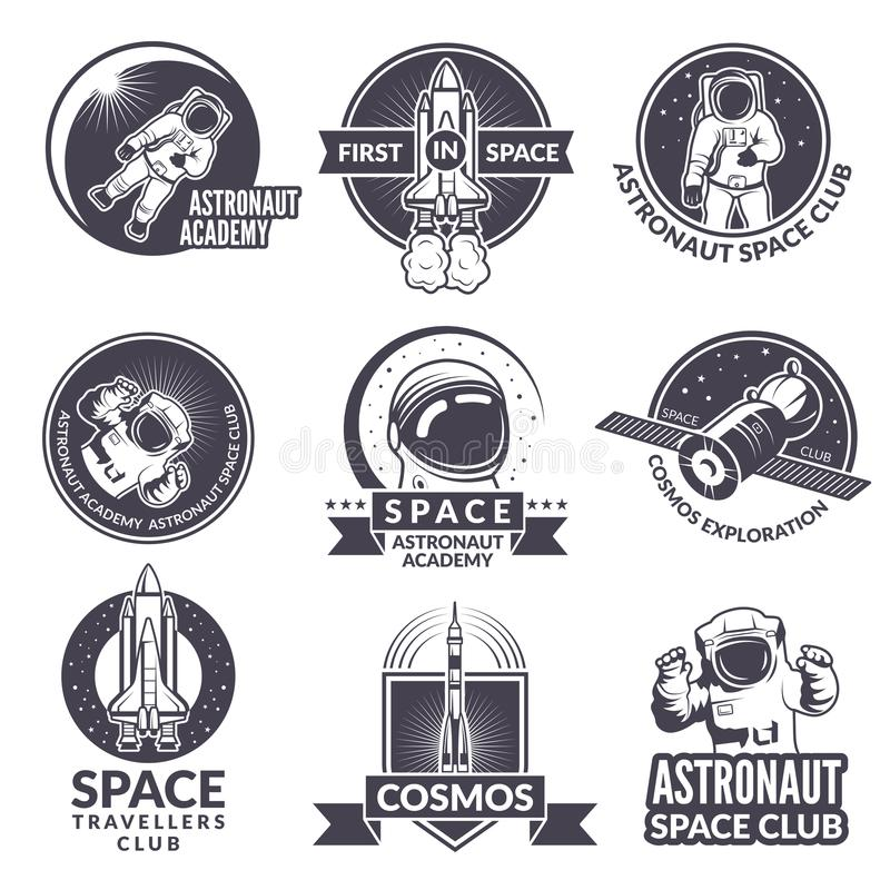 Эмблемы, ярлыки или логотипы темы космоса с иллюстрациями космоса и астронавтов иллюстрация штока