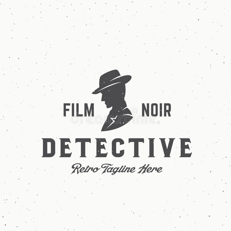 Эмблема вектора фильма Noir сыщицкие абстрактные винтажные, ярлык или шаблон логотипа Человек в силуэте шляпы с ретро иллюстрация вектора