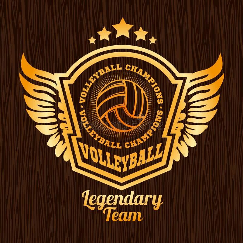 Эмблема волейбола золота на деревянной текстуре иллюстрация штока