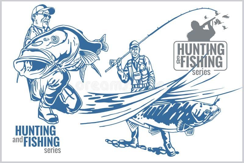 Эмблема года сбора винограда звероловства и рыбной ловли иллюстрация вектора