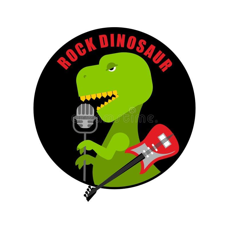 Эмблема динозавра утеса Логотип для старых вентиляторов рок-музыки T-rex иллюстрация вектора