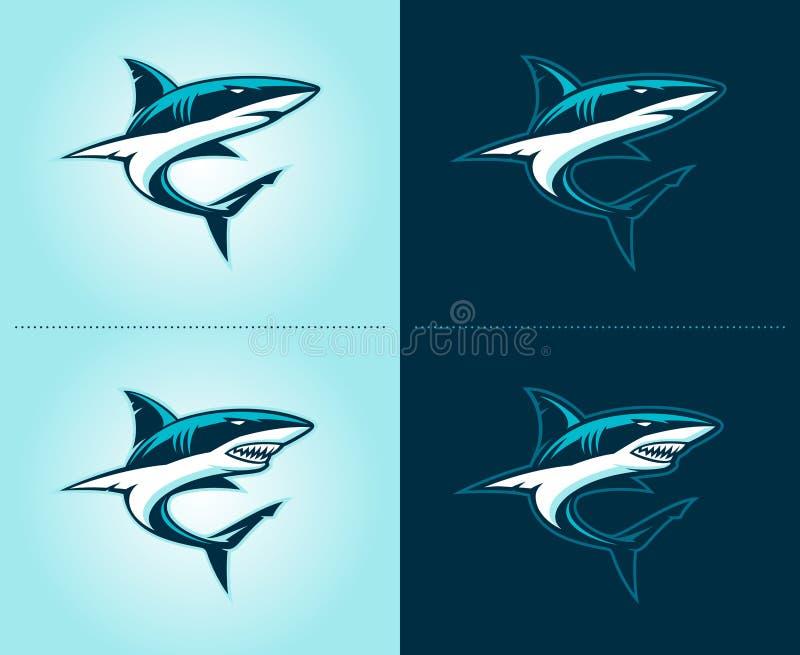 Эмблема иллюстрации акул стоковое изображение rf