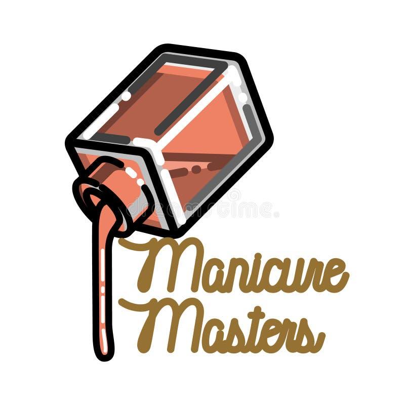 Эмблема маникюра цвета винтажная иллюстрация штока