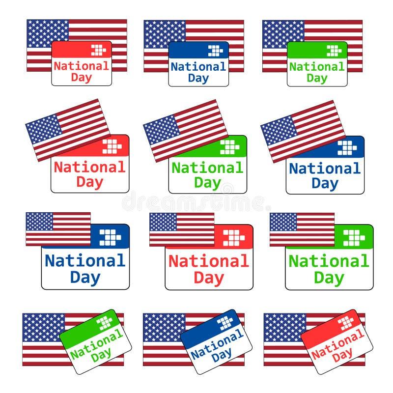 Эмблема национального праздника США вектора установленная многоцелевая с календарем и бесплатная иллюстрация