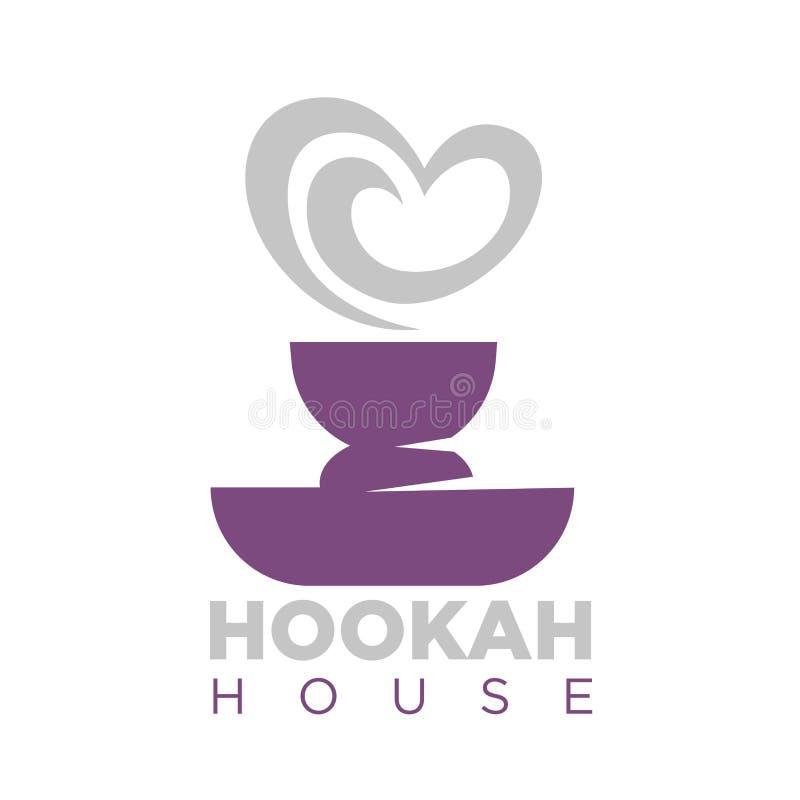 Эмблема дома кальяна с шаром и дымом shisha иллюстрация вектора