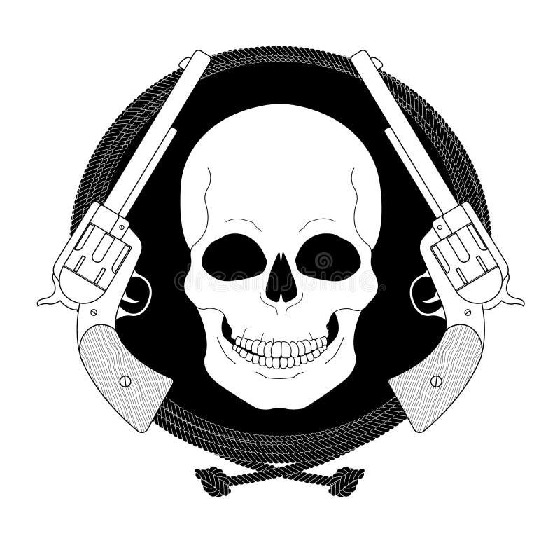Эмблема одичалого черепа западная линейно бесплатная иллюстрация